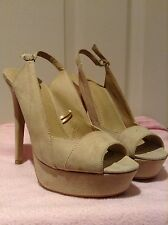 Forever 21 beige nude suede size 8 stiletto heel shoes EUC