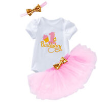 3PCS Baby Girl 1st 2nd Birthday Cake Smash Outfit Romper Tutu Skirt Headband Set