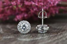 Engagement Earrings Halo Stud Screw Back Earrings 2.82Ct Diamond 14K White Gold