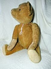 """Mohair Teddy Bear, Antique, Replaced Paw Pads, Plastic Eyes, Fully Jointed, 24"""""""