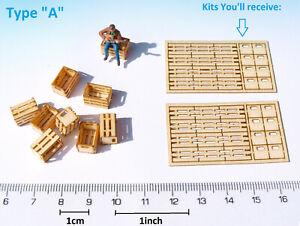 8 Miniature Wood Crate Kit 1:87 HO OO 1:72 scale diorama railway model dollhouse