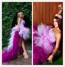 Pink Purple Colors Short Wedding Dress Crystal Hi Lo Bridal Gown Size 6 8 10 12+