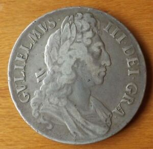 British William III Sterling Silver Crown Coin 1696 Very Fine Grade Engraved.