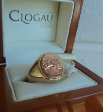 Clogau Welsh 9ct Rose & Yellow Gold Dragon Signet Ring  -  size X / Y