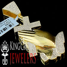 Mens Real Genuine Diamond Praying Hands Yellow Gold Finish Cross Pendant Charm