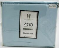 Wamsutta 400 Thread Count 100% Cotton Solid Sateen Day Bed-Light Blue New
