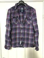Superdry Purple Shirt Size 2XL Check Womens Long Sleeve Great Condition (D363)