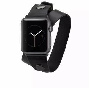 REBECCA MINKOFF 38MM APPLE WATCHBAND, WRAP, BLACK CM032807 **DESIGNER ITEM**