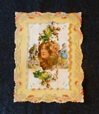 Early Vintage Valentine Card * Beautiful Woman * Colonial People * Lace-like
