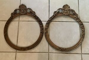 Two Vintage Round Wood Gilded Fancy Picture Frames