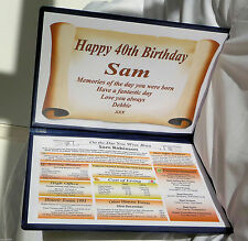 HAPPY 40TH BIRTHDAY GIFT- THE YEAR YOU WERE BORN -PERSONALISED KEEPSAKE