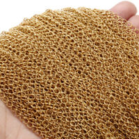 10 Meter Gold Stainless Steel Extender Soldered Curb Chain Link DIY Findings