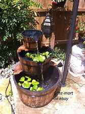 3 Tier Wood Whiskey Wine Barrel Outdoor Patio Pond Water Garden Fountain Kit