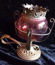 lampe a huile de sanctuaire en verre taillé a décor de fleurs