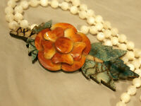 "Vintage Sponge Coral Flower Necklace With MOP Beads Possibly Lee Sands 29"""