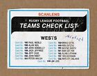 1980 WESTERN SUBURBS WESTS MAGPIES TEAM CHECKLIST NRL RUGBY LEAGUE TRADING CARD