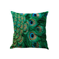 Pillow Covers Cases Peacock Feather Pattern Soft Flax Pillowcases Cushion Covers