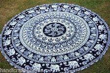 Elephant Bohemian Mandala Round Beach Tapestry Hippie Throw Yoga Mat Indian Rug