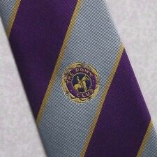 THE PONY CLUB TIE VINTAGE PURPLE SILVER STRIPED STRIPES HORSE EQUESTRIAN 1990s