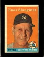 1958 TOPPS #142 ENOS SLAUGHTER EXMT YANKEES HOF  *XR20003