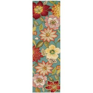 Spring Blossom Aqua 2x8 ft. Runner Rug Living Dining Room Hallway Area Floor Rug