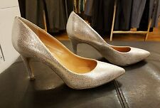PRE-OWNED  J.CREW GLITTER PUMPS Sz  9  GOLD SILVER BLING HEELS. IN EXCELLENT CON