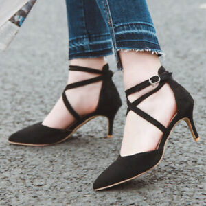 Women Pumps Shoes Ankle Strappy Pointed Toe Sexy Kitten Heel Party Dress Sandals