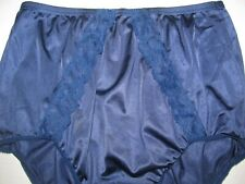 Vintage USA Vanity Fair Navy Blue Lace All Nylon Antron III Sissy Brief Panties