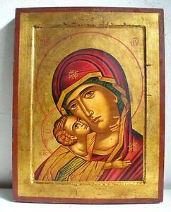 Madonna Tenerezza Vladimir Icona Russa dipinta tavola legno culla Russian icon