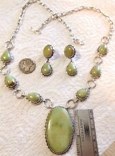 Emerald Valley Turquoise Sterling Necklace Set by TByrd Navajo Avin Joe signed