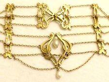 Antiguo Art Nouveau Jugendstil Murrle Bennett? Plata Dorado Gota Collar De Perlas
