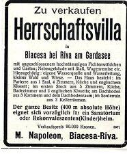 Herrschaftsvilla * Biacesa bei Riva am Gardasee * Historische Annonce 1909