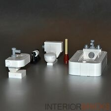 LEGO Furniture: Custom Bathroom Set w/ Toilet, Tub, Sink & More!   [home,design]