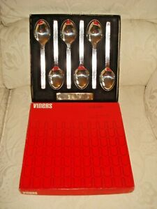 Viners SABLE Dessert Spoons Set of Six in Box - Very Good Condition hardly used