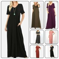 Zenana  Women's Premium Long Maxi  Dress  Short Sleeve with Side Pockets(S-XL)