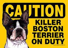Killer Boston Terrier On Duty Dog Sign Magnet Hook & Loop Fastener 5x7