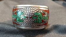 Vtg Navajo Thunderbird Sterling Silver Chip Inlay Turquoise Coral Cuff Bracelet