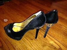 Womans NINE WEST super sexy Platform Black Velvet High Heels MUST SEE sz 10