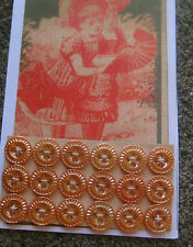 "Set of 18 Vintage 3/8"" 4 hole Amber Carnival Glass Pie Crust Buttons~old stock"