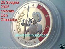 2 euro 2005 Spagna colorato color farbe Espagne España Spain Don Chisciotte