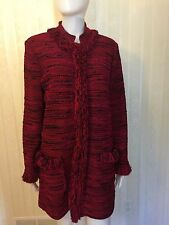 St. John Jacket Red Mix Fringe Size 12 Jacket Sweater Coat Blazer