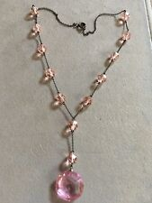 Antique Pink Faceted Glass Crystal w/ Beads Silver Tone Victorian Style Necklace