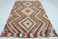 "Antique Antalya Kilim Rug, Diamond Design Wool Rug, Floor Rug, Carpet 72""x112"""