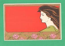 EARLY VINTAGE HENRI MEUNIER ART NOUVEAU POSTCARD LAUREL ROSES BEAUTIFUL LADY
