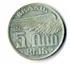 Moneda Brasil 1936 Santos Dumont  5000 reis .600 plata silver coin