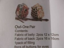 OWL ONE PAIR STUFFED ANIMAL COMPLETE NEW SEWING CRAFT KIT FUN PROJECT 6cm x 7cm