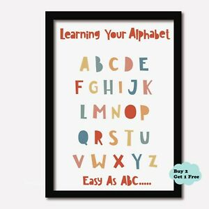 ALPHABET PRINT Nursery Learning Kids Wall Art Boys Girls Bedroom Playroom ABC