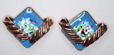 VTG MATISSE Renoir Copper Blue Enamel Diamond Shape Clip Earrings