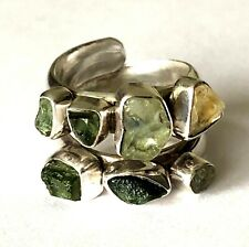 Designer Lilly Barrack Sterling Silver 8 Natural Stone Wrap Ladies Ring Size 6