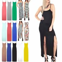Womens Ladies Long Maxi Top Sleeveless Cami Strappy Side Slit Split Jersey Dress